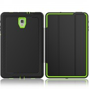 Tri-fold Stand PU Leather Smart Cover for Samsung Galaxy Tab A 10.5 (2018) T590 T595 - Black / Green
