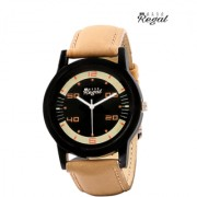 Mark regal black dail brwon leather strap watch for mens