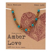 Baltic Amber Children's Necklace - Ocean Love 33cm