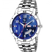 Gen-Z GENZ-SN-SDD-0057 Blue dial stainless steel day and date metal watch for men