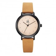 Shengke Damski zegarek SK na brązowym pasku