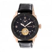 Heritor Automatic Helmsley Semi-Skeleton Leather-Band Watch - Rose Gold/Black HERHR5009