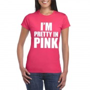 Bellatio Decorations I am pretty in pink shirt roze dames S - Feestshirts