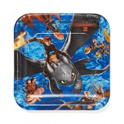 "amscan How to Train Your Dragon 2 Square Plate, 9"", Party Favor"