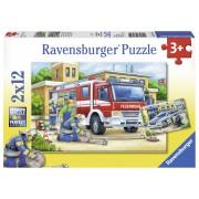 PUZZLE POLITIE SI POMPIERI, 2X12 PIESE - RAVENSBURGER (RVSPC07574)