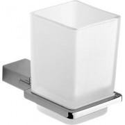 gedy 3810/132 Portaspazzolino Da Muro Per Bagno In Alluminio Con Bicchiere In Vetro Satinato Colore Cromo - 3810/132 Serie G-Kansas