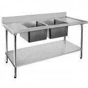 Stainless Sink 1200 W x 600 D with Double Centre Bowls and 100mm Splashback
