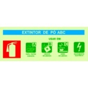 Placa de sinalização Agente Extintor ABC