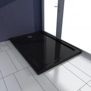 vidaXL Szögletes ABS zuhany alaptálcával 70 x 100 cm fekete