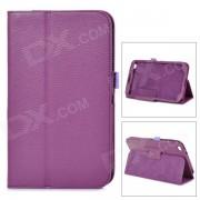 dos secciones plegables funda protectora de cuero de la PU para Samsung Galaxy Tab 3 8.0 T310 - purpura