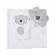 Maisons du Monde Capa de baño para bebé de algodón blanco y gris