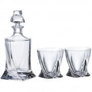 Комплект гарафа и чаши от кристално стъкло за уиски Bohemia Crystalite Quadro