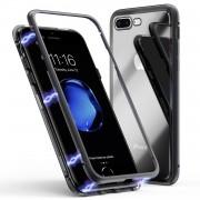 Husa magnetica din sticla cu rama metalica Iphone 7 Plus / 8 Plus Negru