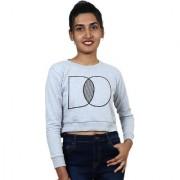 Women Grey Graphic Print Crop Sweatshirt