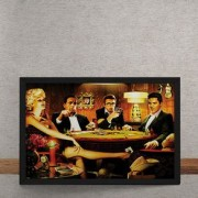 Quadro Decorativo Baralho Marilyn Monroes Elvis Presley James Dean Humphrey Bogart 25x35