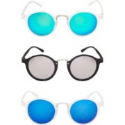 TheWhoop Round Sunglasses(Green, Silver, Blue)