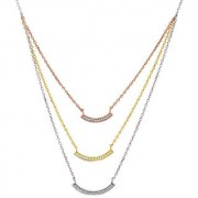 Silver Shine 92.5 Sterling SilverThree Royal Curv Line Sterling Silver Necklace for Women Girls