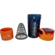 BIG MUSCLES Protein 500 ml Shaker(Pack of 1, Black, Orange)