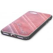 Hoesje geschikt voor Apple iPhone 7 en iPhone 8, gel case leder look, donker bruin