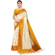 Indian Beauty Women's Yellow Color Mysore Silk Printed Saree Border Tassels With Blouse Piece(WEDDING-ELEPHANT-YELLOW _Free Size)