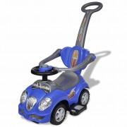 Детска кола за бутане, с дръжка, синя