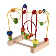 BESTVECH Wooden Toys Baby Math Toys Colorful Mini Around Beads Wire Maze Educational