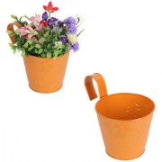 Wonderland Railing Bucket ( pack of two) in Orange ( with detachable handle and wall hook behind). Railing planter wall planter gift balcony home decor flower pot