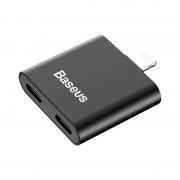 Adaptor Premium Baseus L36 Iphone 7/8 2xLightning, incarcare + voce - Negru