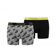 Puma Big Logo AOP Boxershorts Yellow/Grey melange 2-pack-L