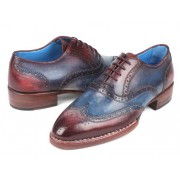 Paul Parkman Goodyear Welted Two Tone Wingtip Oxford Shoes Blue & Bordeaux 27LD77
