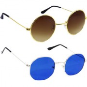 Derry Combo Of Bronze-Gold And Blue Sunglasses
