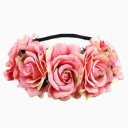 Leoie Artificial Flower Garland Rose Love Shape Wreath Headband Silk Rose for Wedding Party Home Car Decor Peach Pink