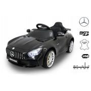 Mașinuță electrică pentru copii Mercedes-Benz GTR, Neagră,Licență Originală, Cu Baterii, Uși care se deschid, Scaun din Piele, 2x motoare, Baterie 12V, Telecomandă 2.4 Ghz, roți ușoare EVA, pornire Lină
