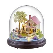 """3D """"Spring Lakeside White Swan"""" Christmas Gift Glass Ball Birthday DIY Model LED Kits Doll House"""