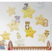 TenStickers Sticker kinderkamer sterren en dieren