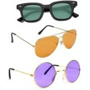 Elligator Aviator, Round, Wayfarer Sunglasses(Green, Orange, Violet)
