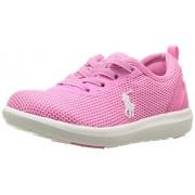 Polo Ralph Lauren Kids Girls' Kamran Sneaker, Baja Pink Mesh White Pop, 4 M US Toddler