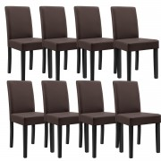[en.casa]® 8 x sillas tapizadas (marrón - mate) (alta calidad) con patas de madera maciza / piel sintética / elegante / Set ahorro
