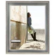 Malden International Designs Classic Metal Beads 2-Tone Picture Frame, 8 by 10-Inch, Matt and Shiny Silver