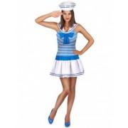 Vegaoo Matrosen-Kostüm in weiß-blau für Damen