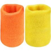 Neska Moda Unisex Orange And Yellow Pack Of 2 Cotton Wrist Band