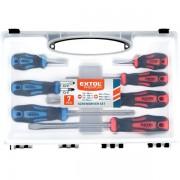 Extol Premium csavarhúzó klt., 7db; lapos: 5,5×38, 5,5×100, 6,5×125mm és 8×150mm, PH1×75, PH2×38 és PH2×125, CV. mágneses, műanyag tar 8819257