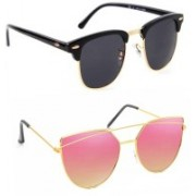 Elgator Over-sized Sunglasses(Black, Pink)