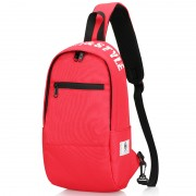 Men Chest Bag Oxford Shoulder Strap Bag Casual Sports Backpack Messenger Bag - Horizontal Zipper / Red