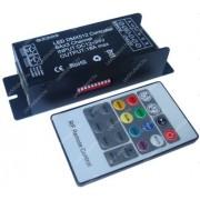 DMX512 RGB led szalag vezérlő+20 gombos infra távirányító, DC12V, 6 csatorna, 216 W Life Light Led