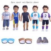 ZWSISU Boy Doll Clothes Set,5sets sport+3pairs shoes Fits 18 Inch American Girl & Boy Dolls Logan Doll Outfits Chrismas gift