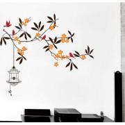 EJA Art beautiful tree with flower Wall Sticker (Material - PVC) (Pec - 1) With Free Set of 12 pec butterflies sticker