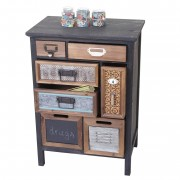 Apotheker-Schrank HWC-A43, Kommode, Tanne Holz massiv Vintage Patchwork 78x55x35cm ~ Variantenangebot