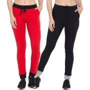 Cliths Set Of 2 Cotton Lowers for Women/ Stylish Track Pants For Gym/Women's Joggers (Red Black Black Grey)