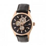 Heritor Automatic Stanley Semi-Skeleton Strap Watch - Rose Gold/Black HERHR6506